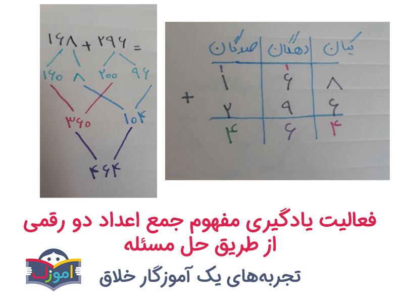 فعالیت یادگیری مفهوم جمع اعداد دو رقمی از طریق حل مسئله
